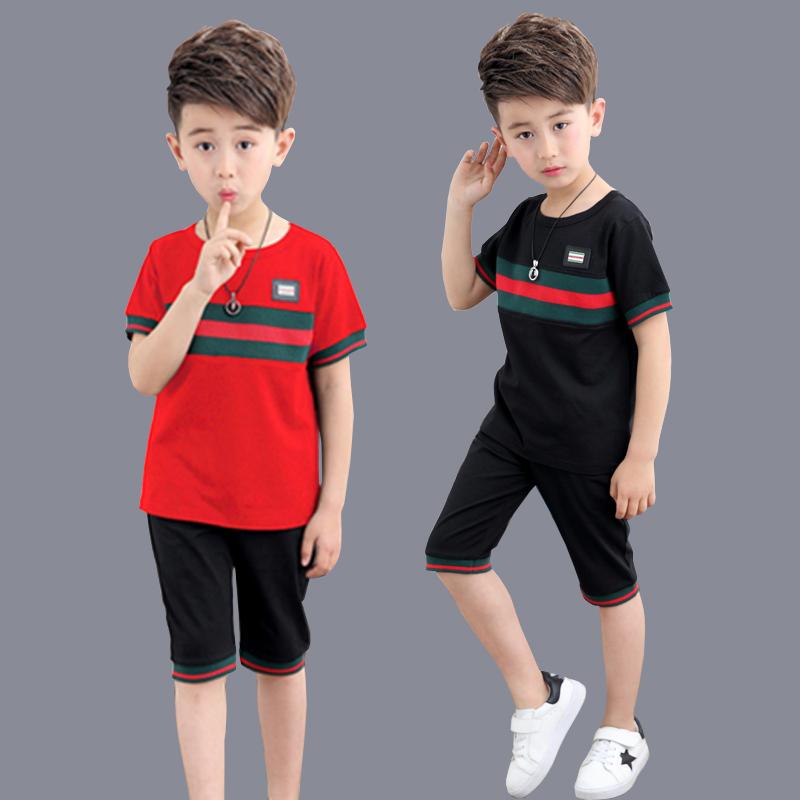 中大童运动短袖夏装两件套男童半袖套装2017新款潮5-7-9-11岁