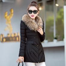 新反季节价冬季羽绒棉服女中长款修身大毛领外套加厚棉衣显瘦促销