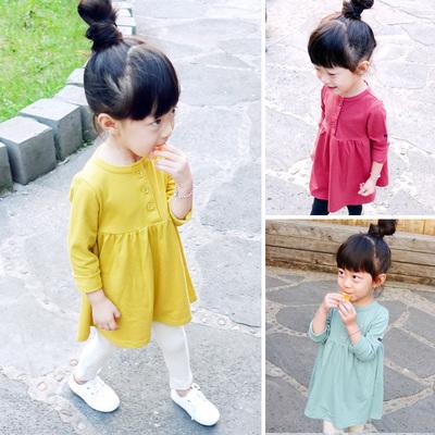 童装女童连衣裙春季儿童纯色长袖T恤裙123456岁宝宝春装公主裙子