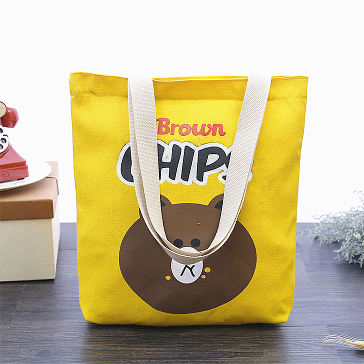 韓國代購ulzzang布朗熊漢堡薯片Line帆布手提包女單肩包購物袋