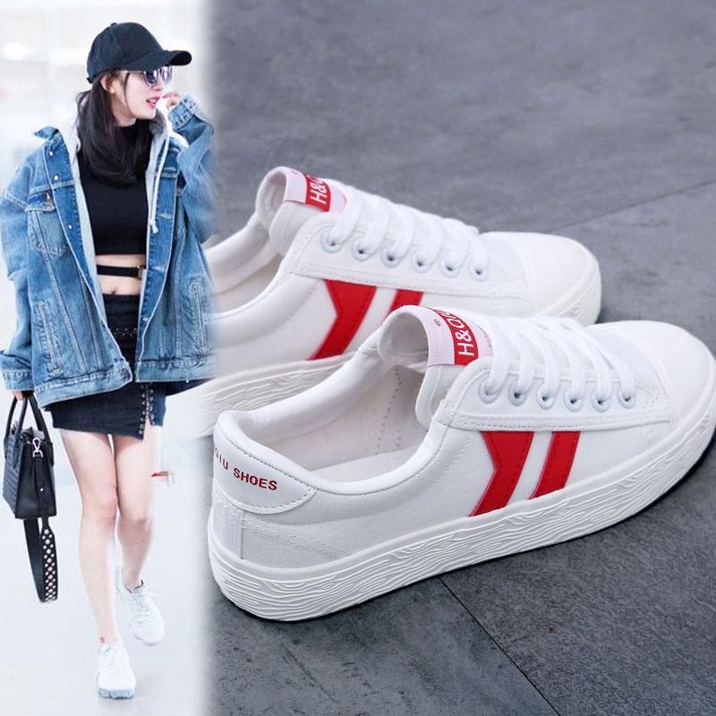環球白色帆布鞋小白鞋女春夏學生韓版百搭款板鞋女