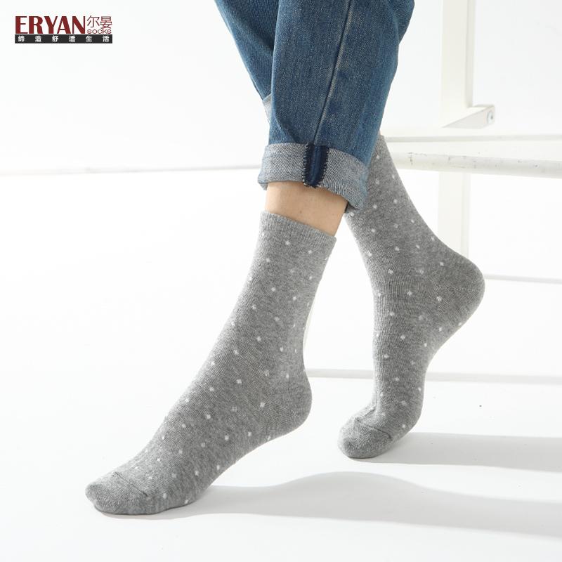 尔晏袜子女纯棉秋冬季薄款简约可爱点点中筒袜女款短袜子3双装