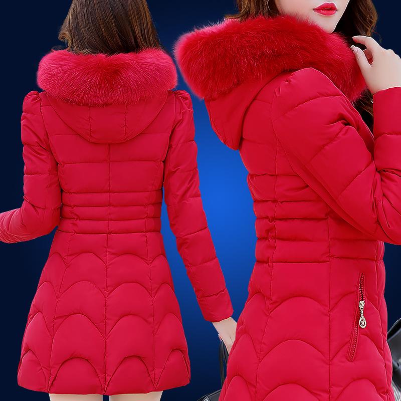 冬季长款棉衣修身女中棉袄加厚女装外套冬装