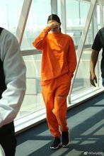 秋装新款 欧美明星肯豆同款 橘色卫衣运动休闲套装 男女款
