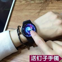 创意个性智能发光led触摸屏手表男女学生硅胶防水黑白情侣电子表