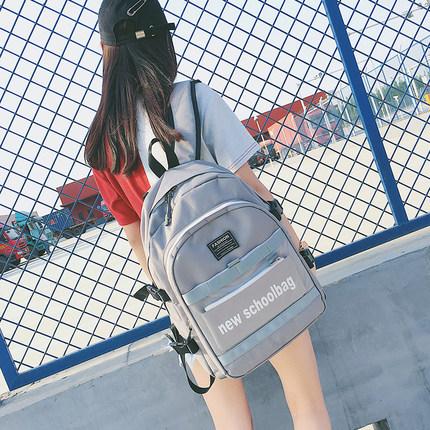 书包女 韩版ulzzang高中大学生潮背包帆布大容量多层电脑包双肩包