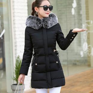 羽绒服女中长款显瘦胖mm冬装大码女装棉服藏肉加大号连帽保暖外套