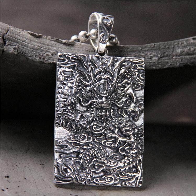 古朴银饰 s925纯银复古泰银男士吊坠 龙腾四海雕刻中国龙吊牌挂件