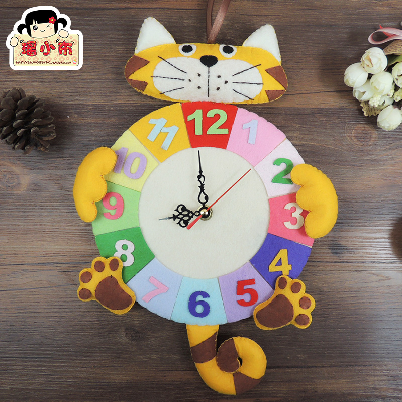 卡通小老虎挂钟免裁剪不织布材料包创意手工diy缝制钟表数字时钟