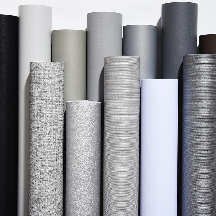 灰色壁纸自粘卧室客厅纯色墙纸素色防水衣柜家具翻新贴纸加厚环保