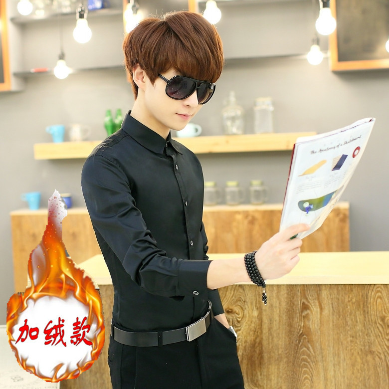 秋冬季男士保暖衬衫修身青年商务职业潮正装纯色长袖加绒加厚衬衣