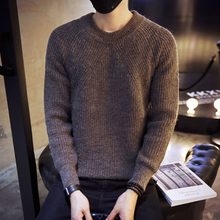 黑色毛衣男士韩版潮流个性圆领秋冬毛线衣打底衫修身型百搭针织衫