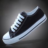 黑白平底系带百搭男生球鞋 低帮休闲板鞋 男鞋 男士 学生鞋 春季帆布鞋