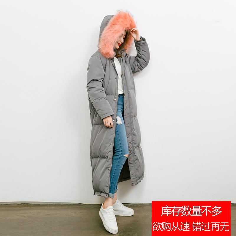 反季清仓特价处理加长款过膝羽绒服韩国大毛领宽松女装韩版外套冬