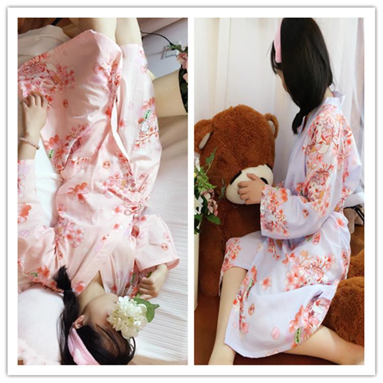 日式樱花和服睡衣女可爱招财猫全棉双层纱布睡袍睡裙家居服汗蒸服