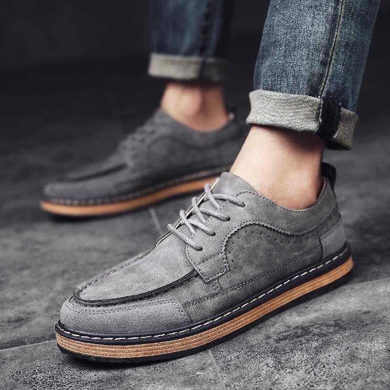 复古伐木鞋男反绒皮鞋流行男鞋时尚潮流舒适男士休闲工装鞋子板鞋