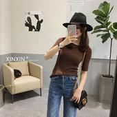 辛辛家春装新款韩版简约基础款多色修身针织打底衫中袖紧身T恤