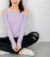 t恤上衣 17早春新色健身瑜伽运动螺纹紧身指套美背交叉露肩长袖
