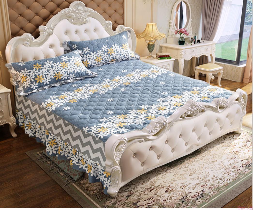 全棉绗缝夹棉欧式无床尾床裙单件花边两边床罩款纯棉加棉加厚