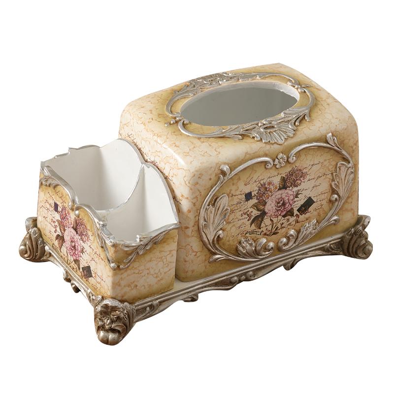 多功能纸巾盒欧式遥控器桌面收纳盒创意树脂抽纸巾盒