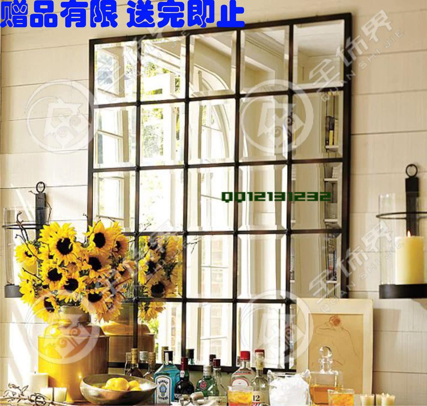 欧式镜子方形客厅挂镜壁挂餐厅挂镜现代墙饰假窗户镜