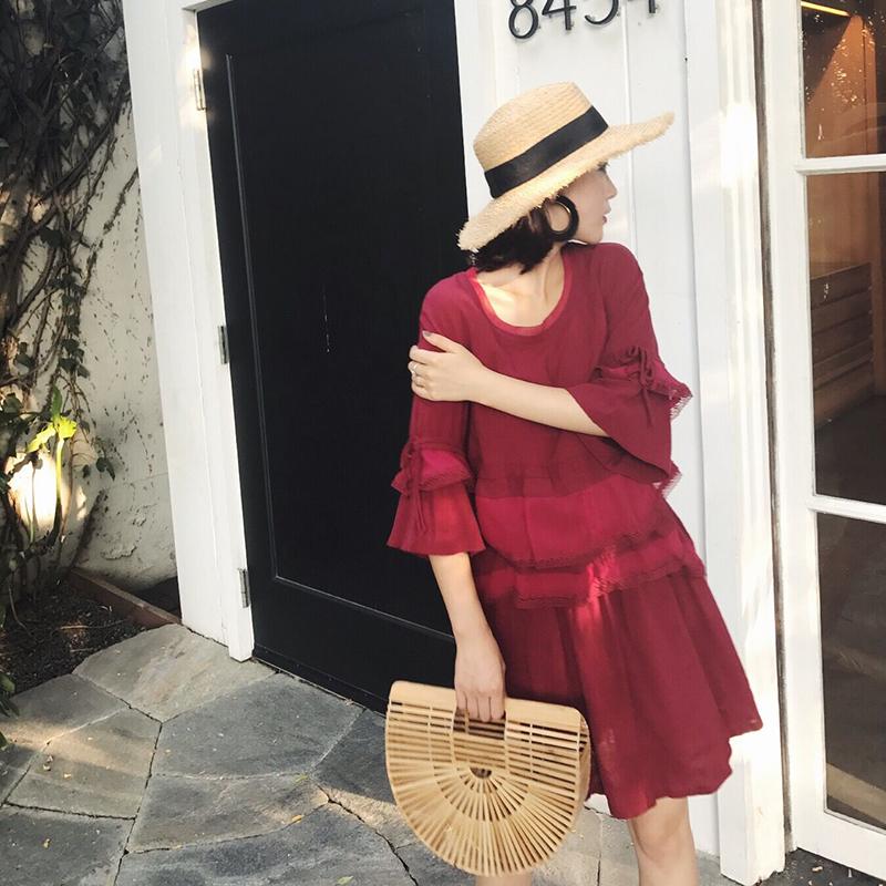 于momo2017夏装新款拼接圆领棉麻连衣裙五分袖宽松文艺气质裙子