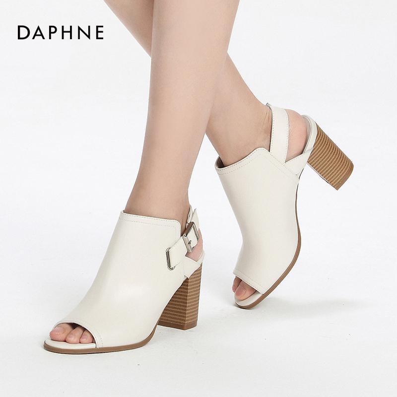 百搭皮带扣粗跟高跟鞋 夏新舒适真皮鱼嘴女鞋 2017 达芙妮 Daphne