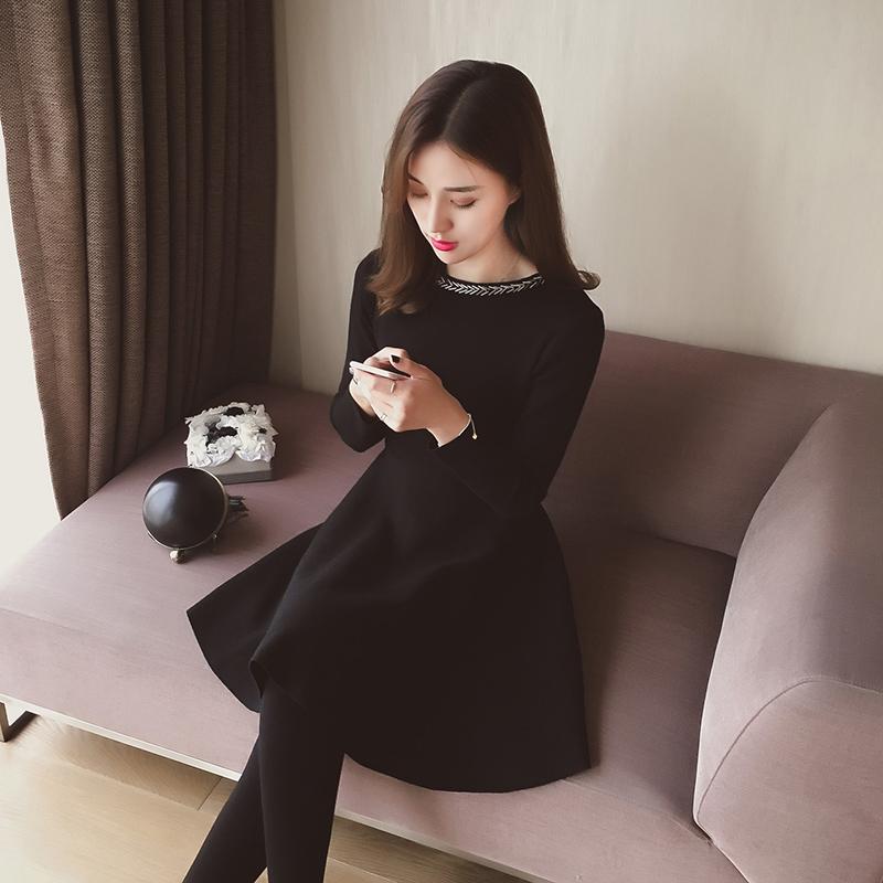 2016秋冬装新款韩版修身针织连衣裙女纯色长袖打底裙收腰a字短裙