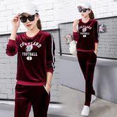金丝绒运动套装两件套女春秋季女款大码2017新款韩版时尚休闲套装