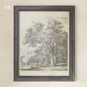美式客厅卧室玄关原版进口美式装饰画芯 雅克布乔治的树 竖版