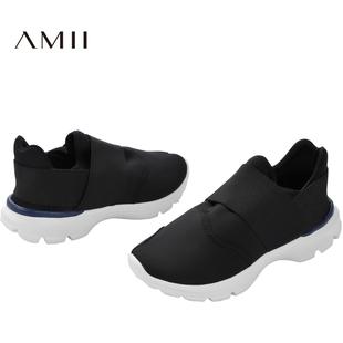 Amii[极简主义]2017秋百搭一脚蹬透气运动休闲跑步黑色小白鞋女秋