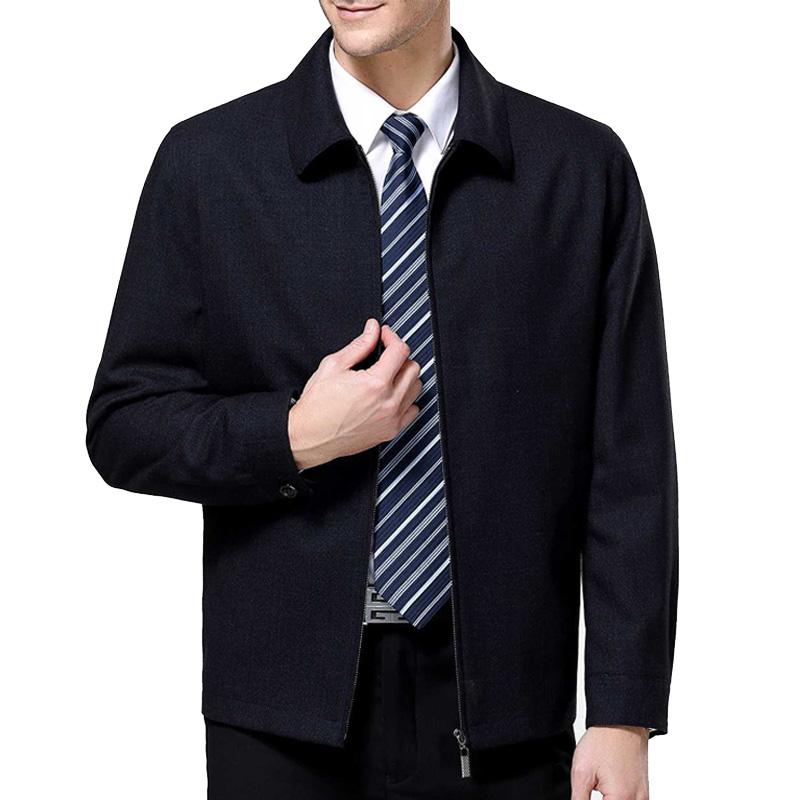 鄂尔多斯市春秋装中老年夹克翻领正品男装商务宽松外套衣爸爸装