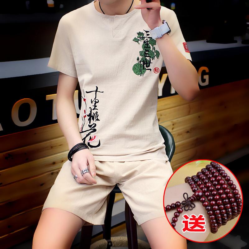 恤大码两件套青年套装夏季刺绣国风短袖男装短裤亚麻