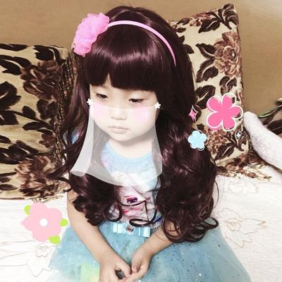 韩版派照宝宝发套 女童假发长卷发 儿童假发发饰齐刘海刘海长卷发