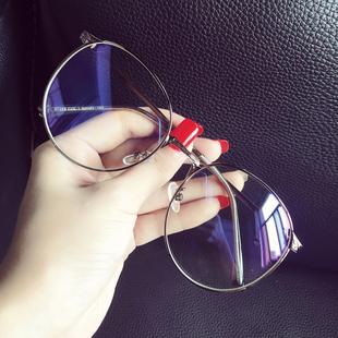 超大框圆脸文艺防辐射蓝光眼镜框女韩版潮复古平光镜架近视眼睛男