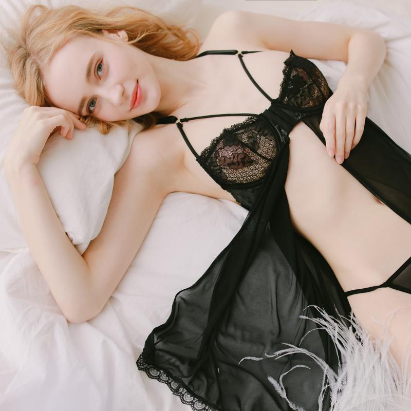 管阿姨十点半a-039卡蜜拉性感镂空内衣黑色吊带诱惑睡裙