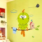 装饰墙壁挂钟客厅儿童房幼儿园教室背景墙静音卡通时钟墙贴可移除