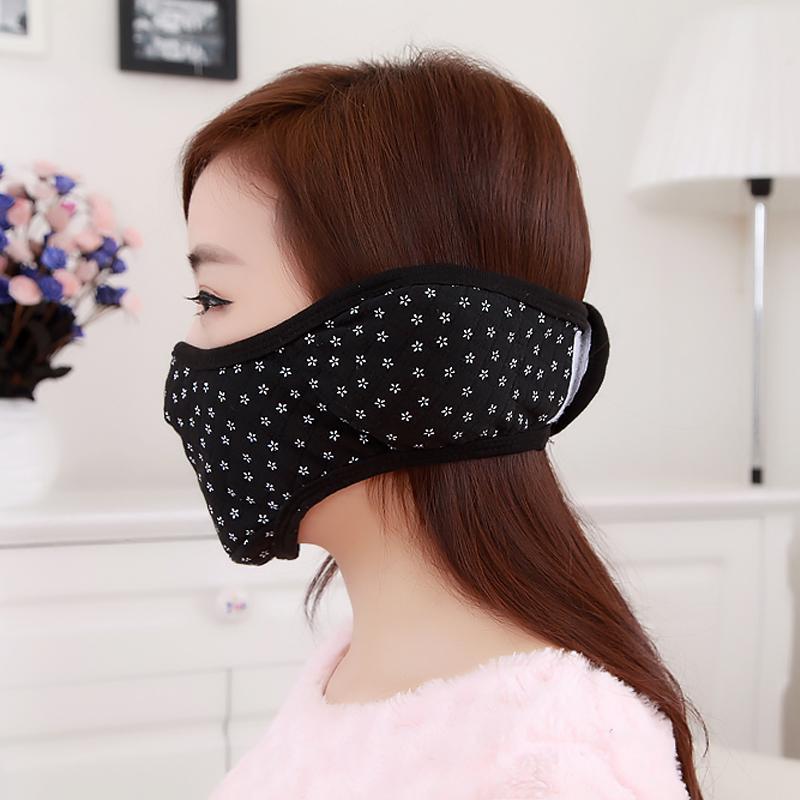 冬季纯棉加厚口罩防尘透气保暖骑行防护雾霾男女士黑色口耳罩潮款