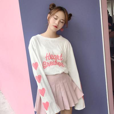 夏装女装韩版可爱爱心印花防晒衣中长款宽松长袖T恤纯色上衣显瘦