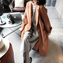 大喜自制2017秋冬新款通勤直筒翻领中长款双面呢大衣女羊毛呢外套