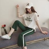2017春季女装宽松字母刺绣短袖T恤套装女条纹运动喇叭裤两件套潮