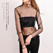 内搭 蕾丝拼接百搭罩衫 修身 网纱打底衫 长袖 圆领套头 F38