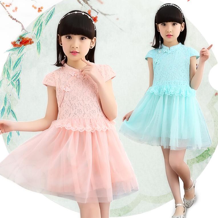 连衣裙表演民族六一儿童旗袍蕾丝古筝中式舞蹈女童唐装