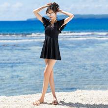 温泉泳衣女保守裙式连体平角黑色大码游泳衣胖mm显瘦遮肚钢托泳装