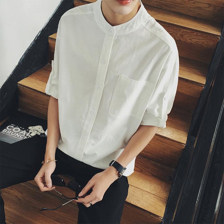 MIC2017春秋棉麻亚麻宽松立领男士短袖衬衫青年纯色七分袖白衬衫