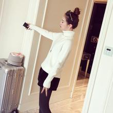 女装冬季2016新款潮韩版套头长袖纯色打底衫基础款修身高领针织衫