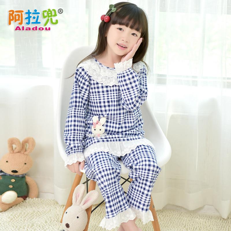 宝宝春季家居服女童儿童童装睡衣小女孩长袖阿拉纯棉