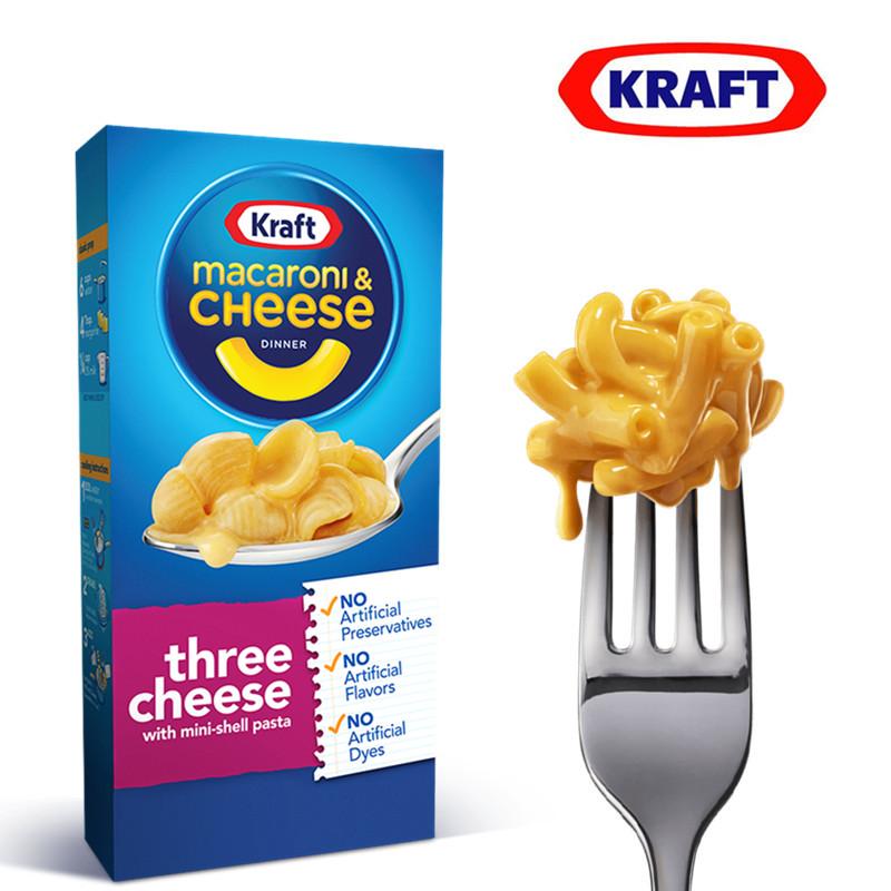 美国进口卡夫Kraft Macaroni三种奶酪味通心粉206g