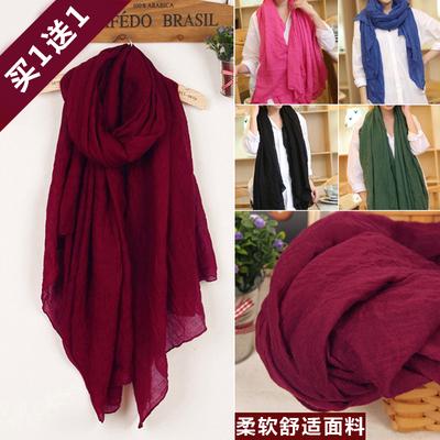 长款大尺寸新款秋冬保暖围巾女棉麻纯色披肩两用韩国百搭褶皱丝巾