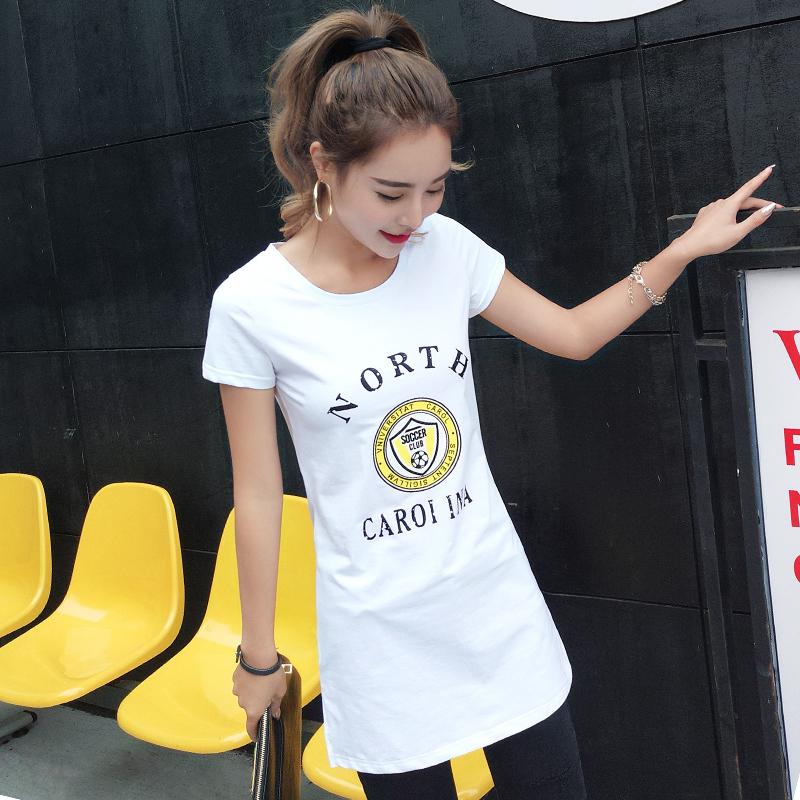 2017夏季新款女装韩版修身显瘦纯棉体恤开叉学生中长款t恤女短袖